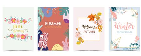 Collection of winter background set for spring,summer,autumn and winter.Editable vector illustration for birthday invitation,postcard and website banner Ilustracja