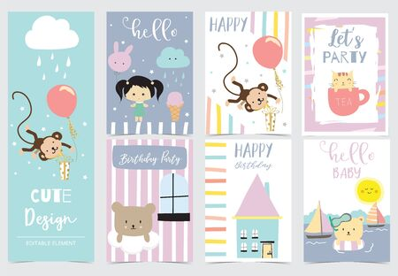 Collection of animal cards set with girl,bear,monkey,cloud.Vector illustration for birthday invitation,postcard and sticker.Editable element