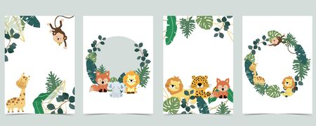 Green collection of jungle frame set with leaf,leaves,leopard,lion,giraffe vector illustration for birthday invitation,postcard and sticker