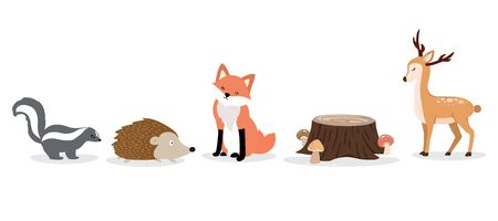 Cute animal character are standing,sitting and sleeping. Vector illustration for birthday invitation,postcard and sticker.Editable element Ilustracja