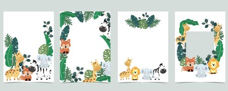 Green collection of jungle frame set with leaf,leaves,fox,lion,giraffe vector illustration for birthday invitation,postcard,and sticker