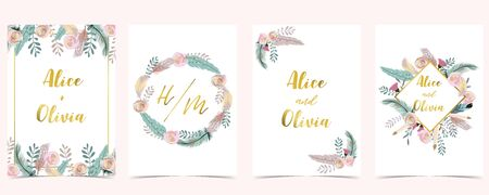 Pink green gold geometry wedding invitation with rose,flower,heart and leaves.Vector birthday invitation for kid and baby.Editable element Ilustracja