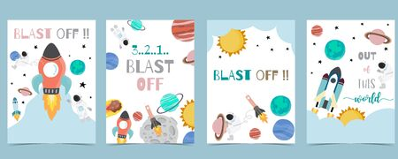 Collection of space background set with astronaut, sun, moon, star,rocket.Editable vector illustration for website, invitation,postcard and sticker.Include wording out of this world,blast off