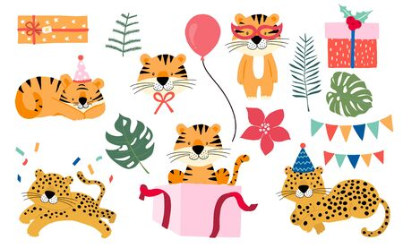 Cute animal object collection with leopard,tiger. illustration for icon,sticker,printable