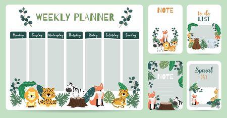 cute animal weekly planner background Vetores