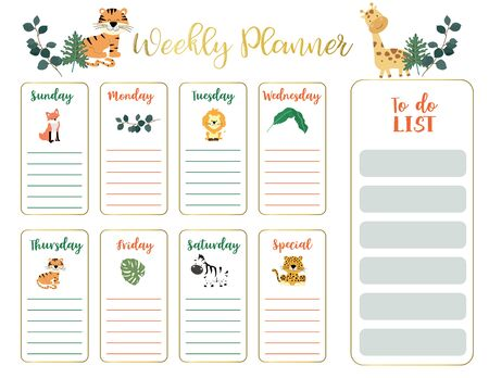 cute animal weekly planner background with giraffe Vetores
