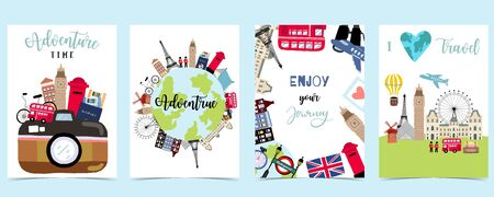 Travel to world background set in europe,america.Editable vector illustration for website, invitation,postcard and sticker.include wording enjoy your journey, adventure time
