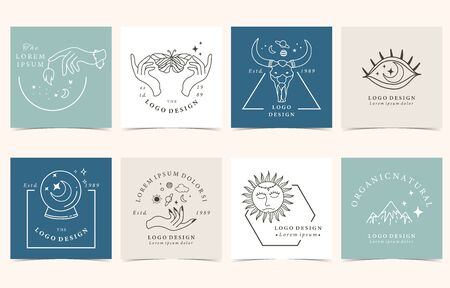 Collection of occult background set with hand,sun,wild,butterfly.Editable vector illustration for website, invitation,postcard and sticker