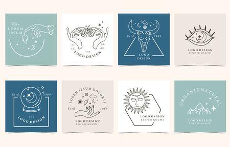 Collection de fond occulte sertie de main, soleil, sauvage, papillon. Illustration vectorielle modifiable pour site Web, invitation, carte postale et autocollant