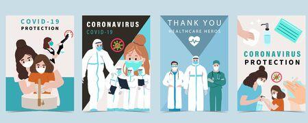 Neuartiger Coronavirus-Hintergrund mit Arzt- und Covid-19-Konzeptdesign, um die Ausbreitung von Bakterien und Viren zu verhindern. Vektorillustration für Poster Vektorgrafik