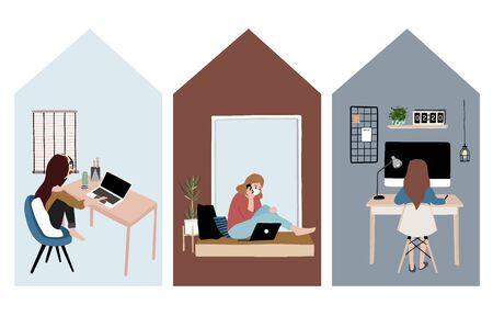 Leute, die Freiberufler zu Hause an Laptop und Computer arbeiten. Frau zu Hause in Quarantäne