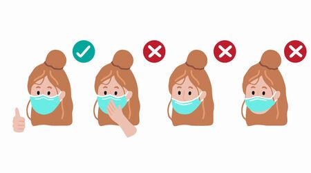 How to correctly wear a mask to prevent the spread of bacteria,coronavirus.Vector illustration for poster.Editable element