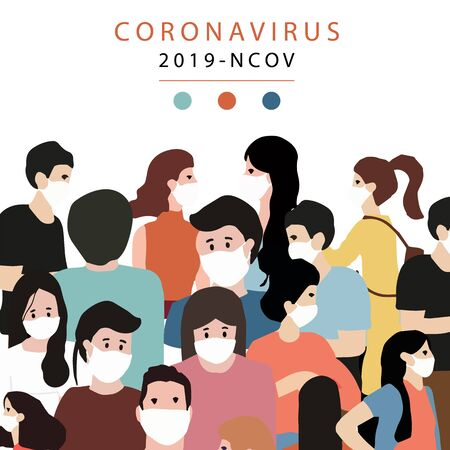 Novel coronavirus background and covid-19 concept of people in city design to prevent the spread of bacteria, viruses.Vector illustration for poster