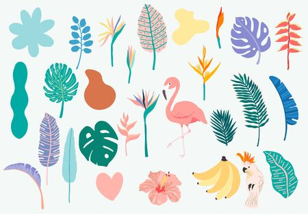 Summer object collection with flamingo,banana,parrot and flower.Vector illustration for icon,logo,sticker,printable,postcard and invitation