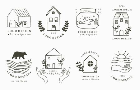 Home and house logo collection with wild,natural,animal,flower,circle.Vector illustration for icon,logo,tattoo,accessories and interior Logo