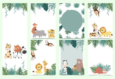 Green collection of safari background set with monkey,fox,giraffe.Editable vector illustration for birthday invitation,postcard and sticker.Wording include wild one