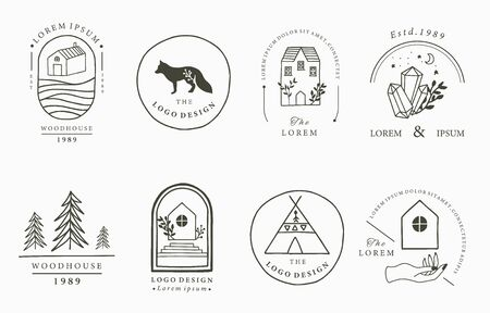Home and house logo collection with wild,natural,animal,flower,circle.Vector illustration for icon,logo,tattoo,accessories and interior 일러스트