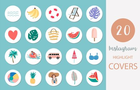 Icons with beach, watermelon, fruit in summer style for social media
