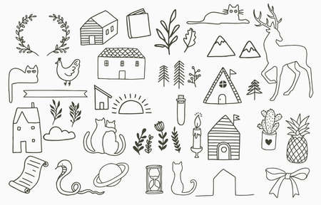 Black line collection with cactus, flower,house,cat,deer.Vector illustration for icon, sticker,printable and tattoo 矢量图像