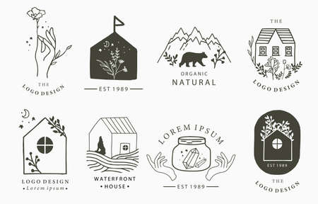 Beauty occult logo collection with hand, flower,house,fox,bear.Vector illustration for icon,logo,sticker,printable and tattoo