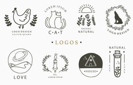 Beauty occult logo collection with hand, flower,house,cat,mountain.Vector illustration for icon,logo,sticker,printable and tattoo 矢量图像