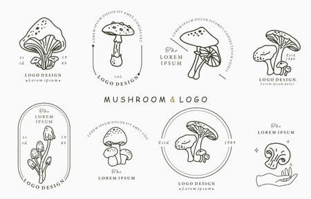 mushroon collection logo with shimeji,shiitake.Vector illustration for icon,logo,sticker,printable and tattoo