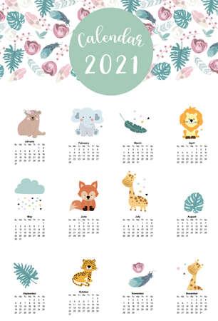 Cute woodland calendar 2021 with bear,giraffe,fox,leaves for children, kid, baby