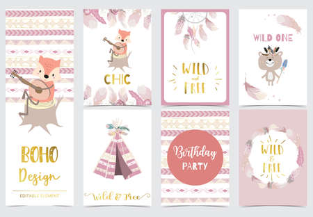 Collection of woodland cards set with fox,bear.Vector illustration for birthday invitation,postcard and sticker.Editable element