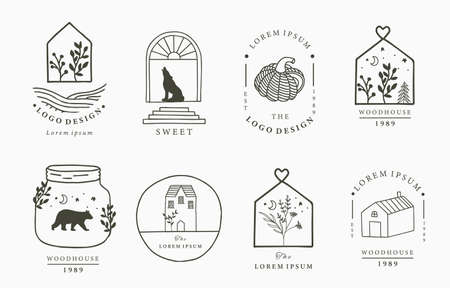 house logo collection with geometric,fox,bear,wild,star,flower.Vector illustration for icon,logo,sticker,printable and tattoo Stock fotó - 155403359