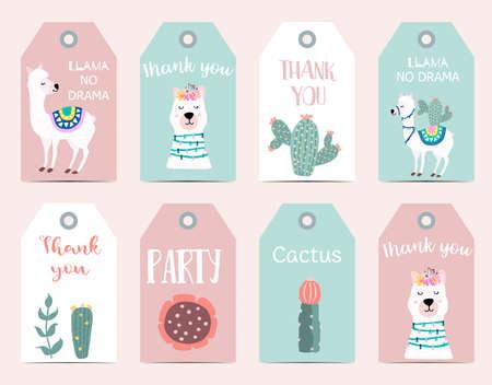 Cute cartoon tag with llama, alpaca, cactus with Thank you, llama no drama wording