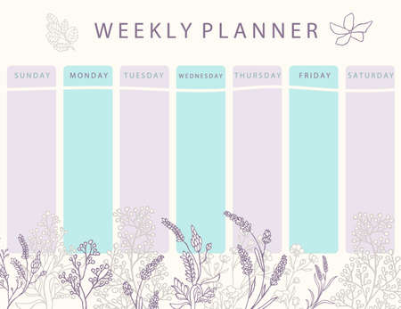 Boho flower calendar planner with rose,lavender.Can use for printable,scrapbook,diary