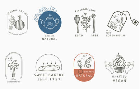 food design collection with onion, coconut tree,tea,flower.Vector illustration for icon,sticker,printable and tattoo