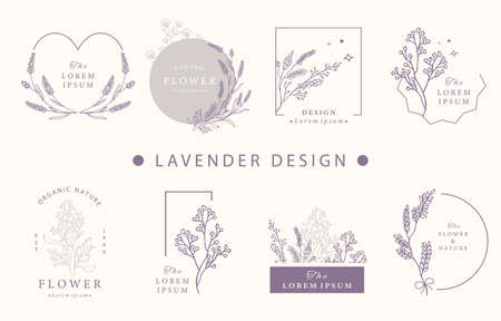 Beauty occult design collection with lavender.Vector illustration for icon,sticker,printable and tattoo Ilustrace