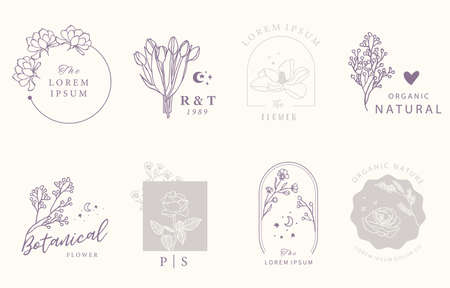 Beauty occult design collection with geometric,tulip,lavender,magnolia.Vector illustration for icon,sticker,printable and tattoo