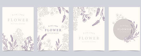 Collection of flower background set with lavender.Editable vector illustration for website, invitation,postcard and sticker Ilustrace
