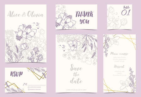 Flower wedding invitation with magnolia, lavender and leaves.Vector birthday invitation for kid and baby.Editable element