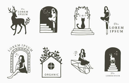 Beauty occult collection with woman,deer,cat,flower,house.Vector illustration for icon,sticker,printable and tattoo Stock Illustratie