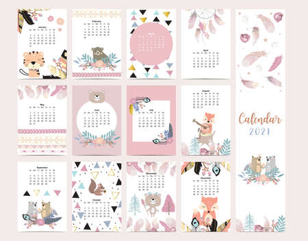 Cute boho calendar 2021 with feather,fox,wild,woodland for children, kid, baby.Can be used for printable graphic.Editable element