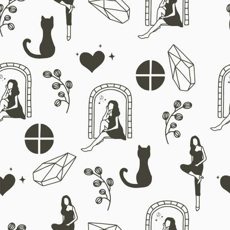 Beauty seamless pattern background with woman, crystal, window, cat, heart, flower Stock Illustratie