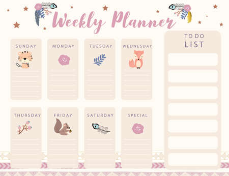 Woodland calendar planner with fox, feather, flower,tiger.Can use for printable,scrapbook,diary
