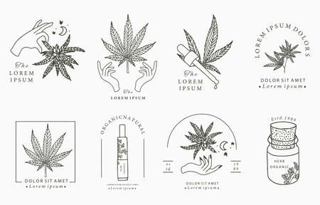 Line object collection with hand, cannabis,bottle,dropper,star,shape