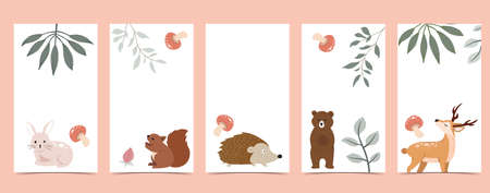 Collection of animal design with bear,leaf,hedgehog.Editable vector illustration for website, invitation,postcard and banner