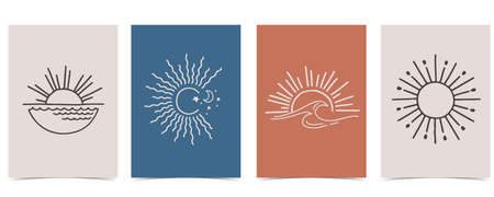 Collection of sun background set with sea,wave,wind,shape.Editable vector illustration for website, invitation,postcard and sticker