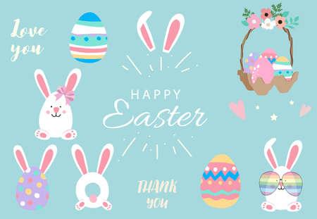 Collection of easter object set with rabbit,egg,flower.Editable vector illustration for website, invitation,postcard and sticker Ilustração