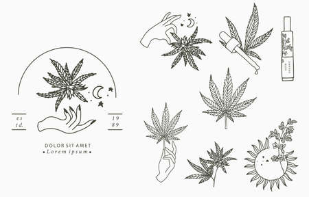 cannabis collection with bottle,sun,hand.Vector illustration for icon,sticker,printable