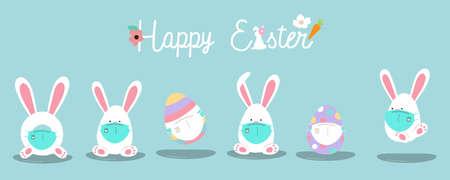 Collection of easter background set with rabbit,egg,flower.Editable vector illustration for website, invitation,postcard and poster Ilustração