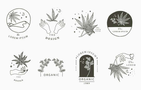 cannabis collection with bottle,mountain,hand.Vector illustration for icon,sticker,printable Ilustração