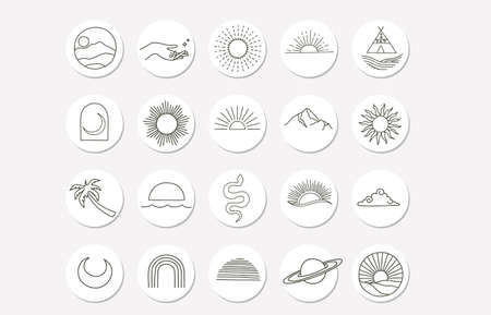 nature object collection with sun,mountain,cloud for social media,sticker