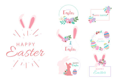 Collection of easter object set with rabbit,egg,flower,wreath.Editable vector illustration for website, invitation,postcard and sticker