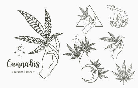 cannabis collection with bottle,moon,hand.Vector illustration for icon,sticker,printable